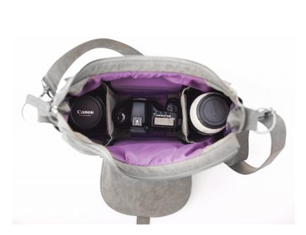 gray woman's camera bag, lavendar lining