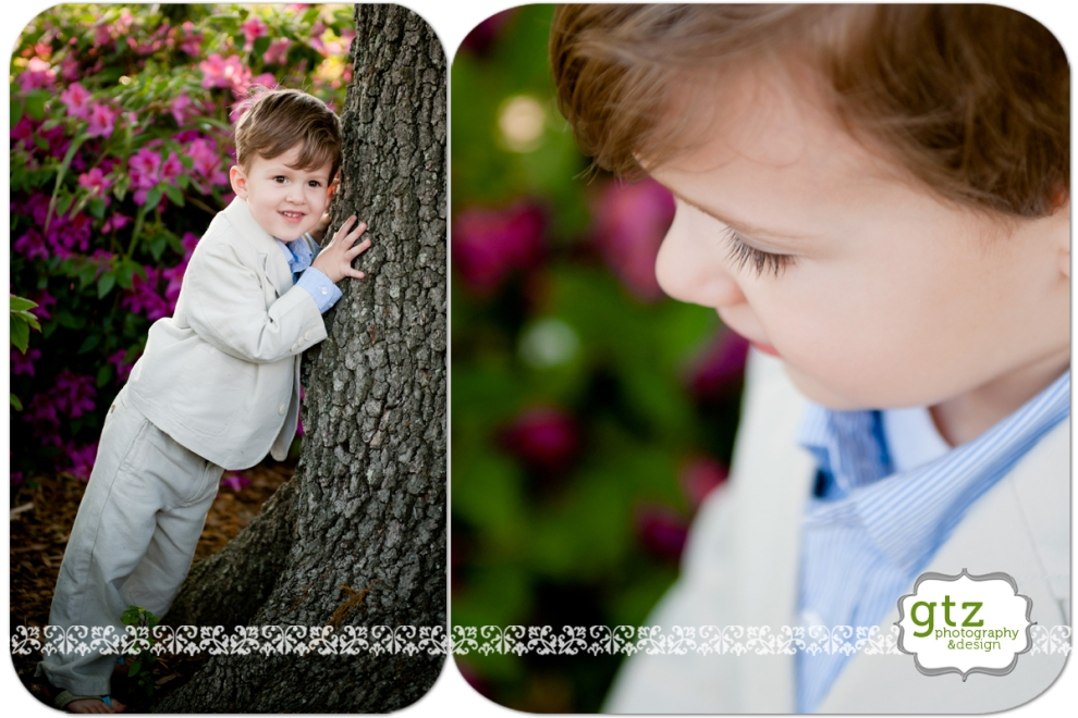 Little boy portrait with old oak tree