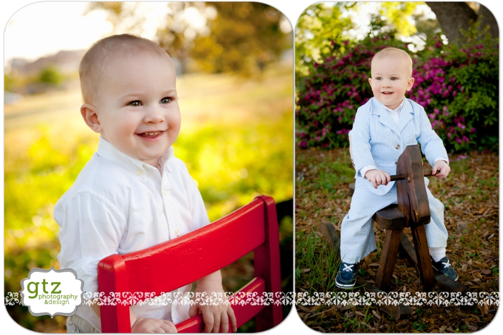 Baby boy portraits with chair and rocking horse