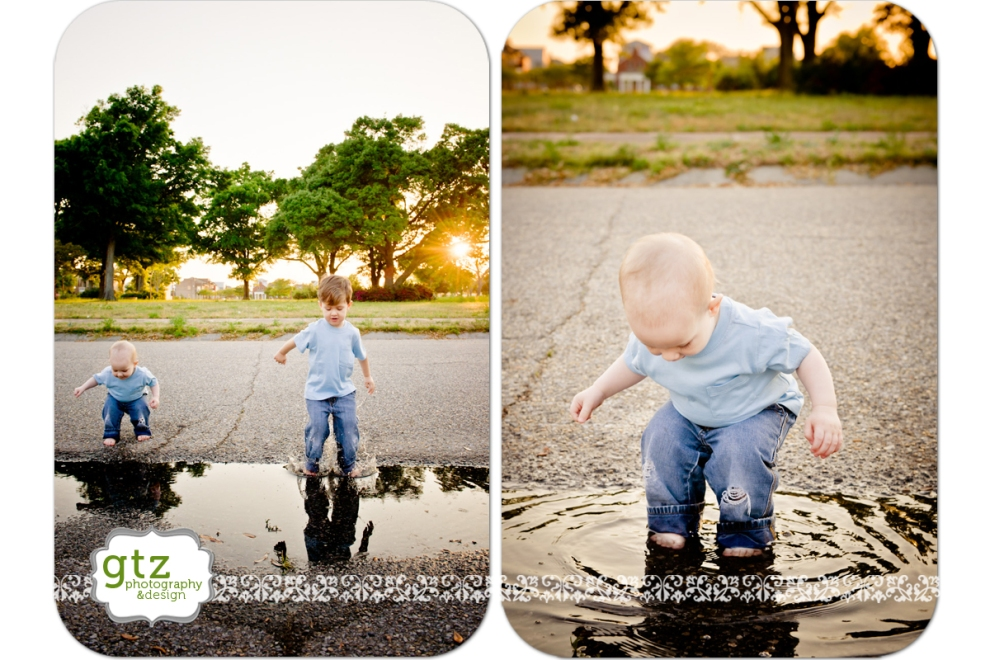 Little boys jumping in puddles
