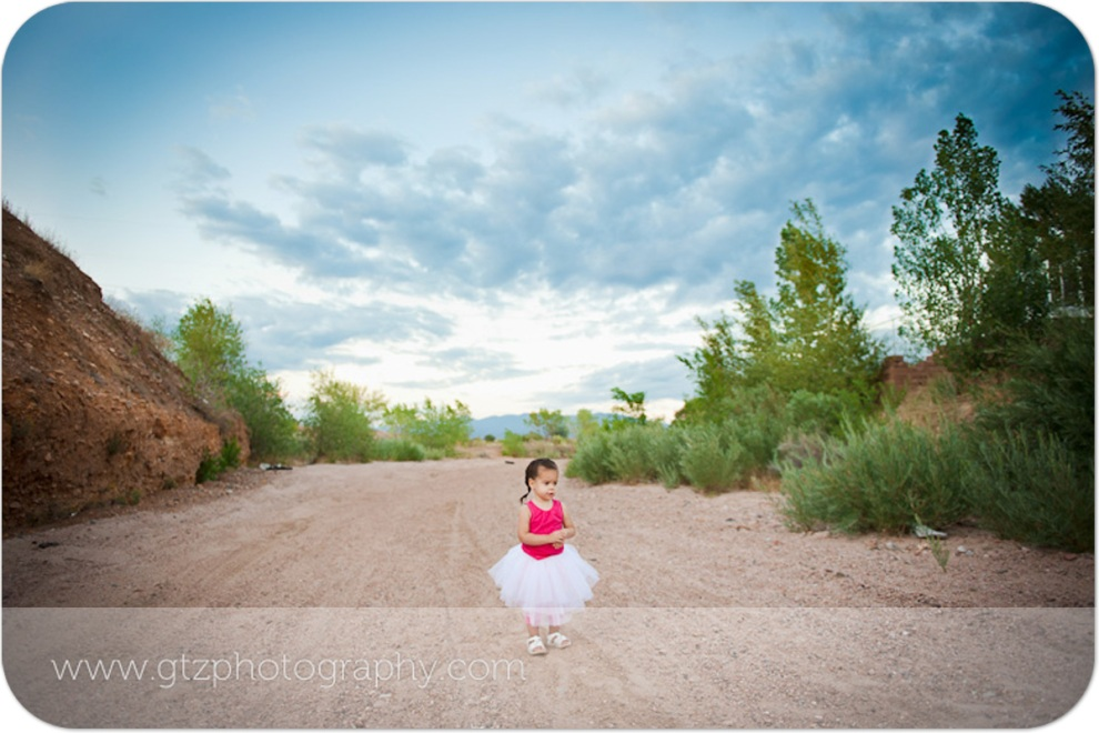 little girl in white tutu standing in a dry riverbed at dusk