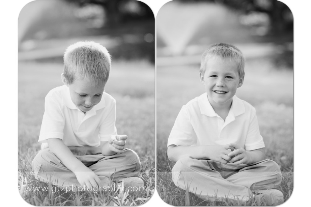 Black and white composite of little boy smiling sitting in grass