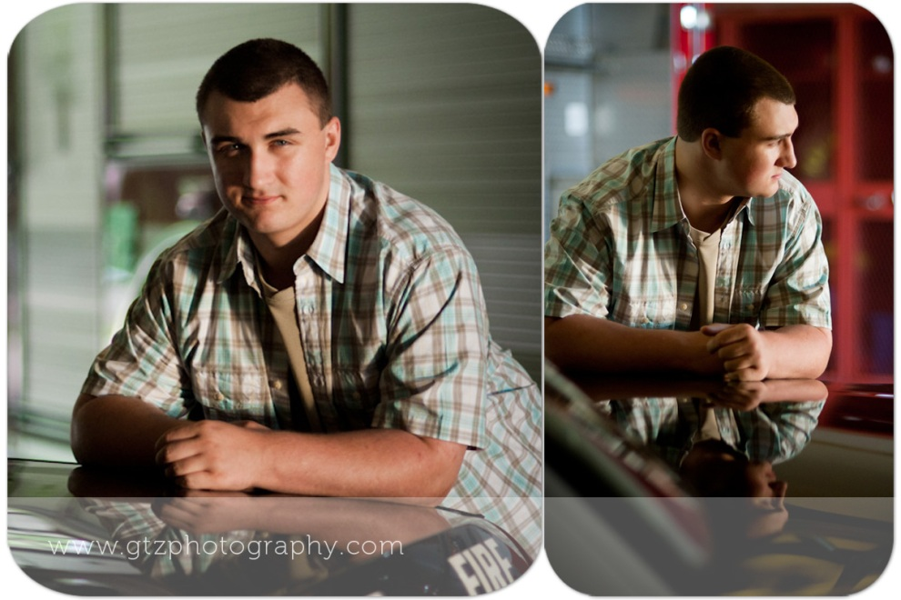 High School Senior Boy Portraits with Reflection in Car Hood