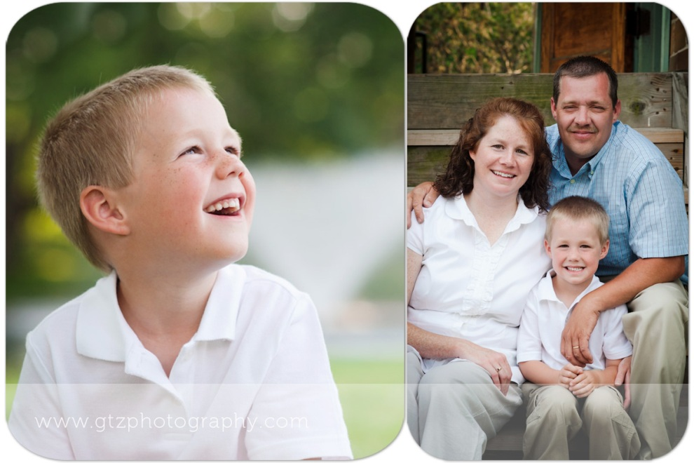 Composite of little boy portrait, and little boy with parents