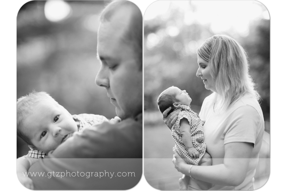 composite of newborn boy with dad and with mom