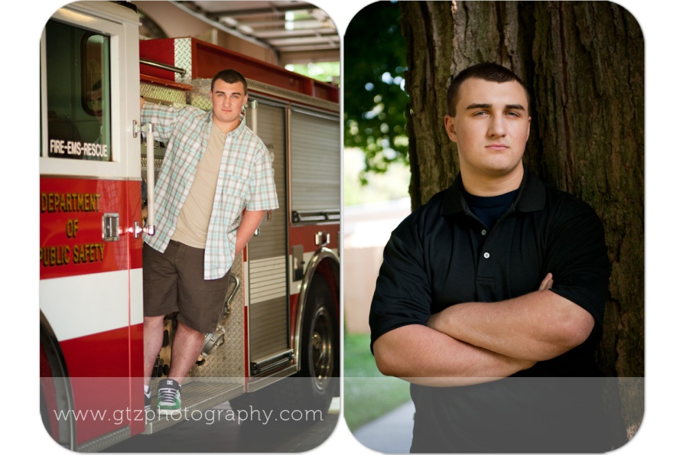 High School Senior Boy portraits with a tree and a firetruck