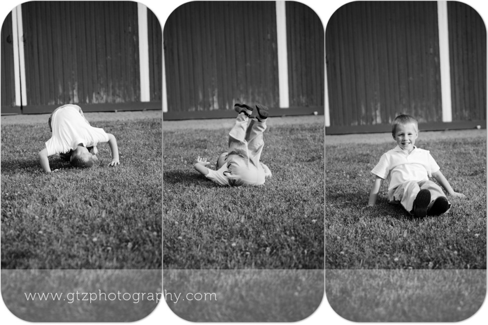 Composite black and whites of little boy somersaulting
