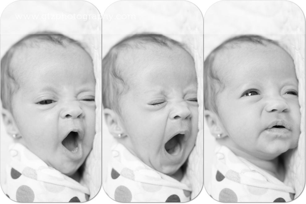 triptych of newborn baby girl yawning