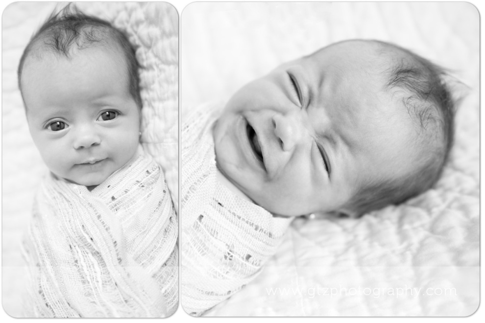 diptych of newborn baby girl