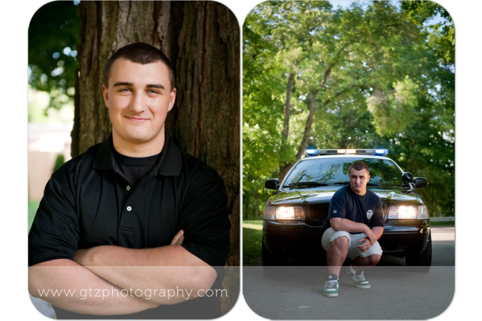 high school senior boy portraits with tree and police car
