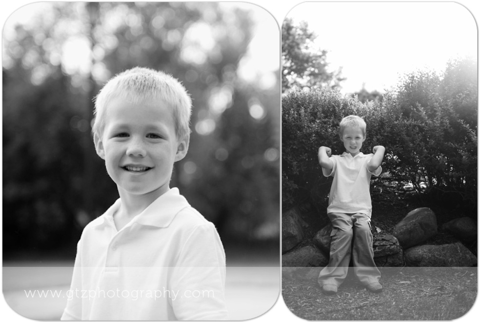 Composite black and whites of little boy portrait, showing off muscles
