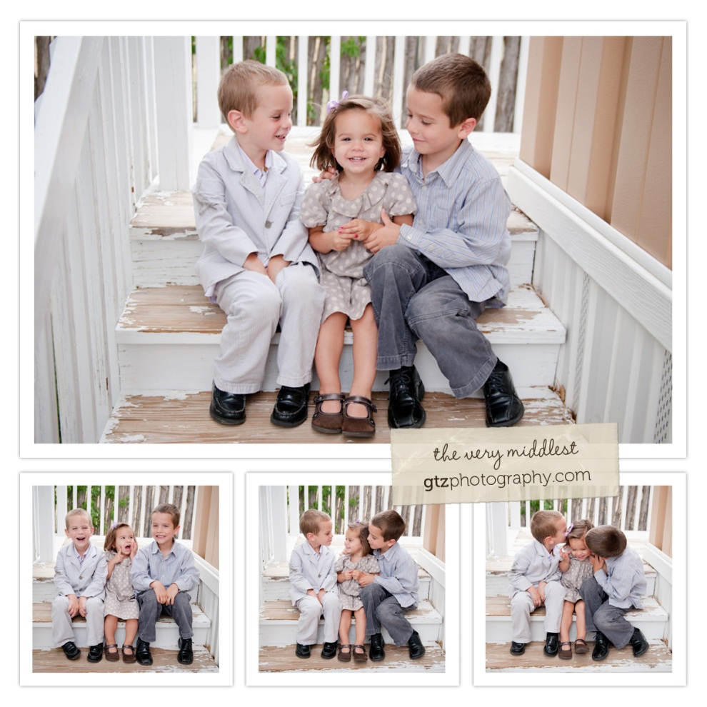 collage of two brothers and little sister, sitting on steps