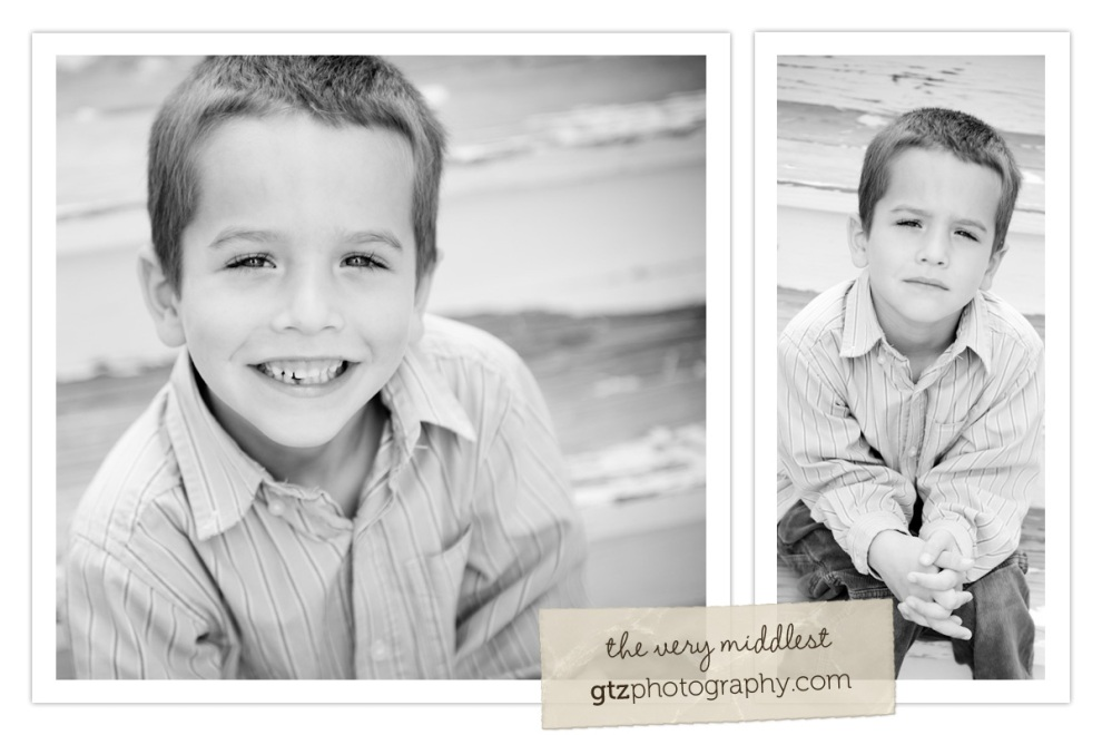 collage of five year old boy portraits