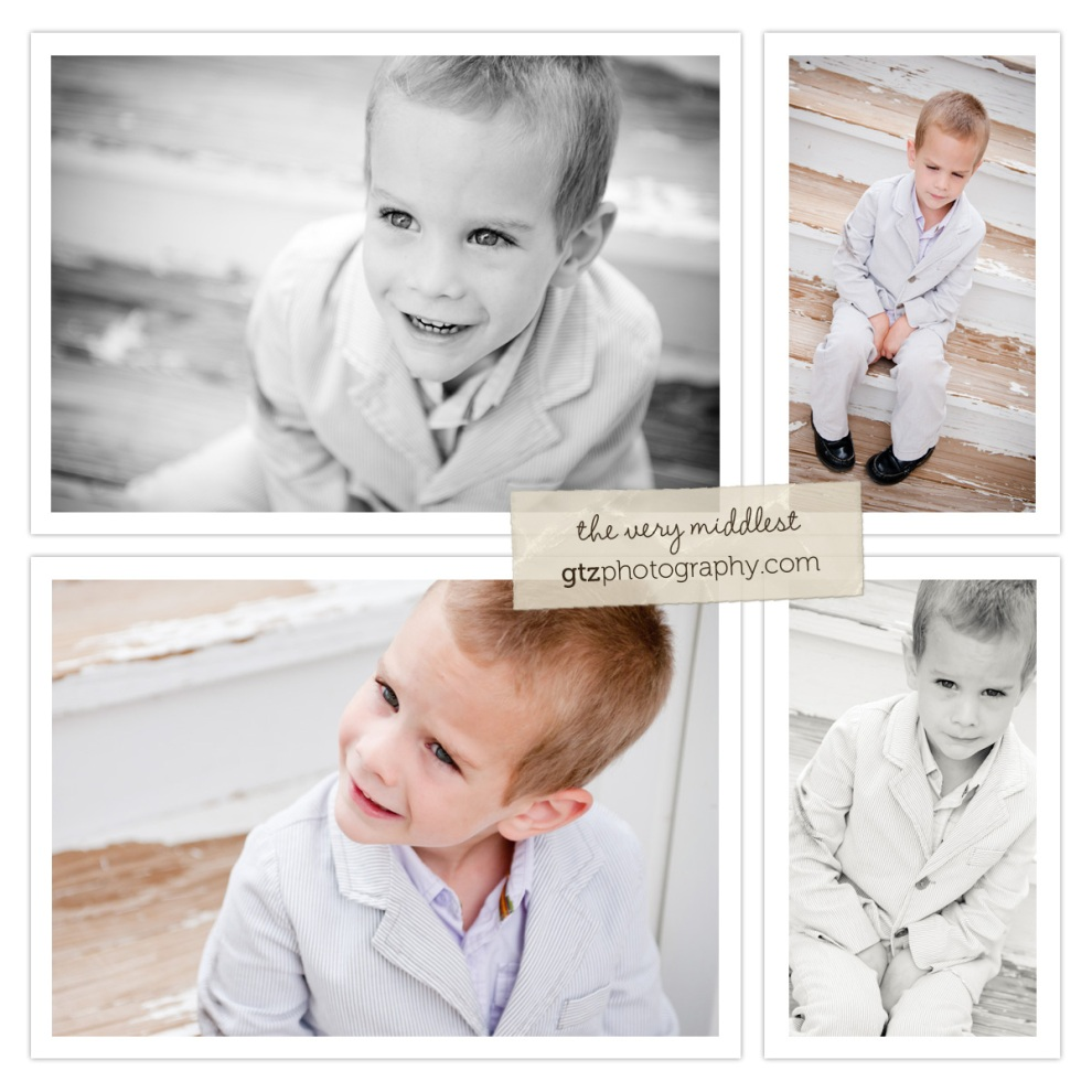 collage of three year old boy portraits