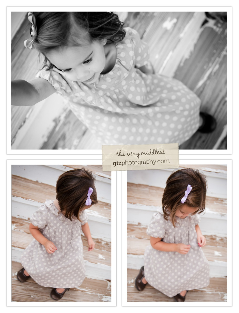 collage of two year old girl portraits