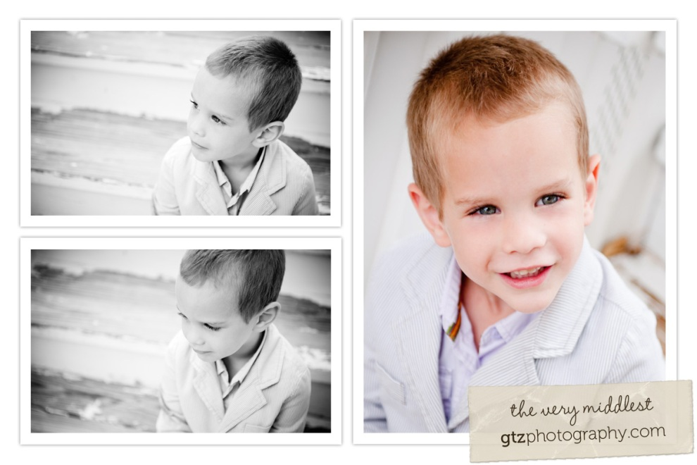 collage of three year old boy portraits in black and white and color