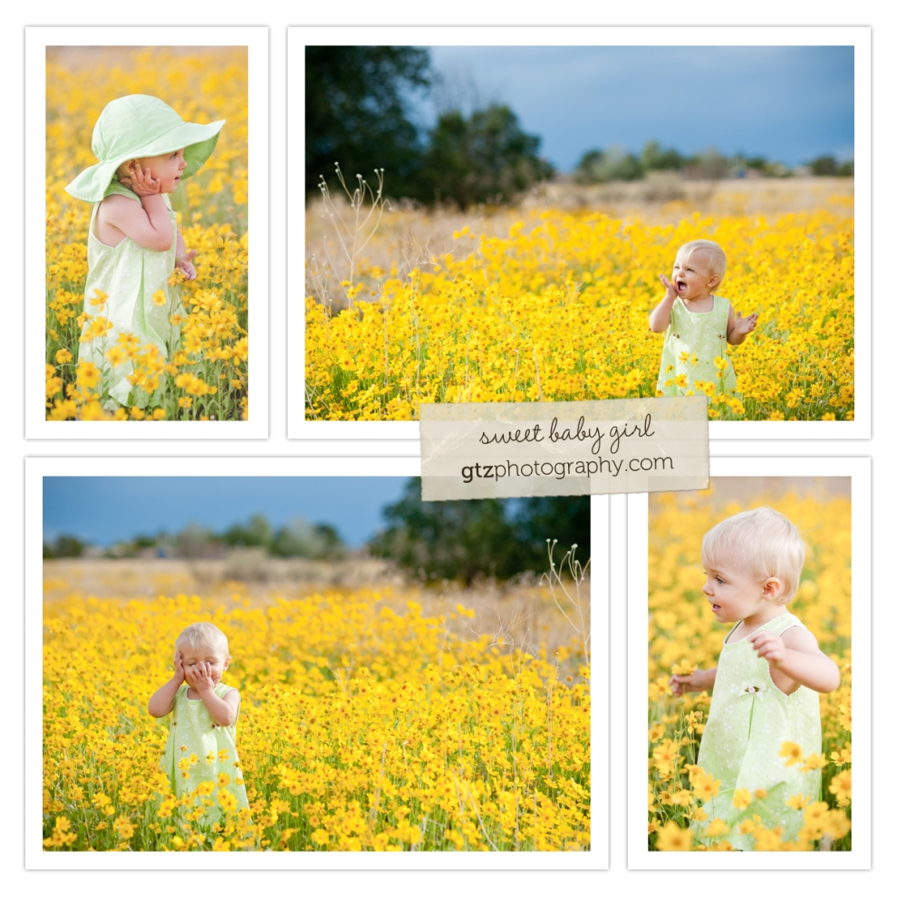 Baby girl in green hat, standing in field of yellow flowers