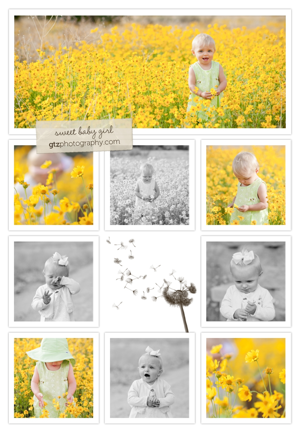 Baby girl standing in field of yellow flowers