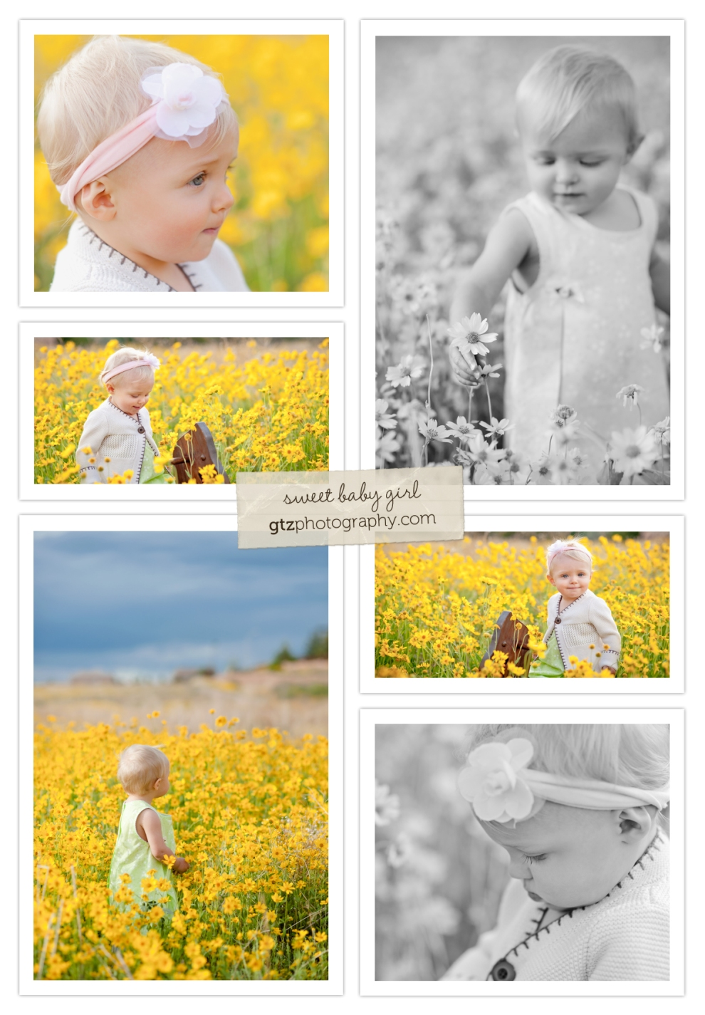 Baby girl in a field of yellow flowers, with a rocking horse