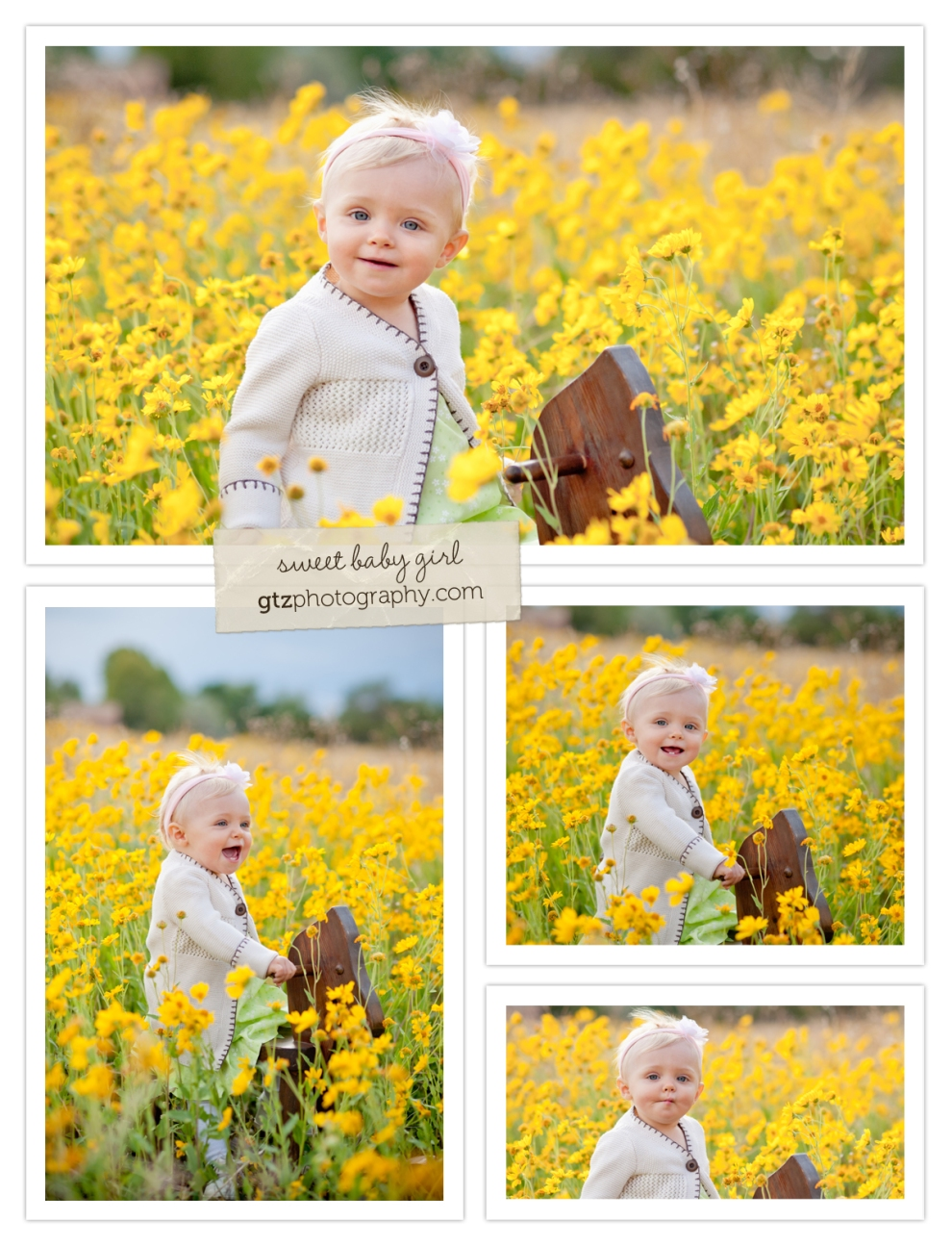 Baby girl on a wooden rocking horse in a field of yellow flowers
