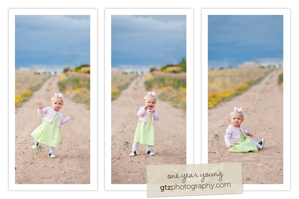 triptych of little girl walking, wobbling, & sitting in a dirt path