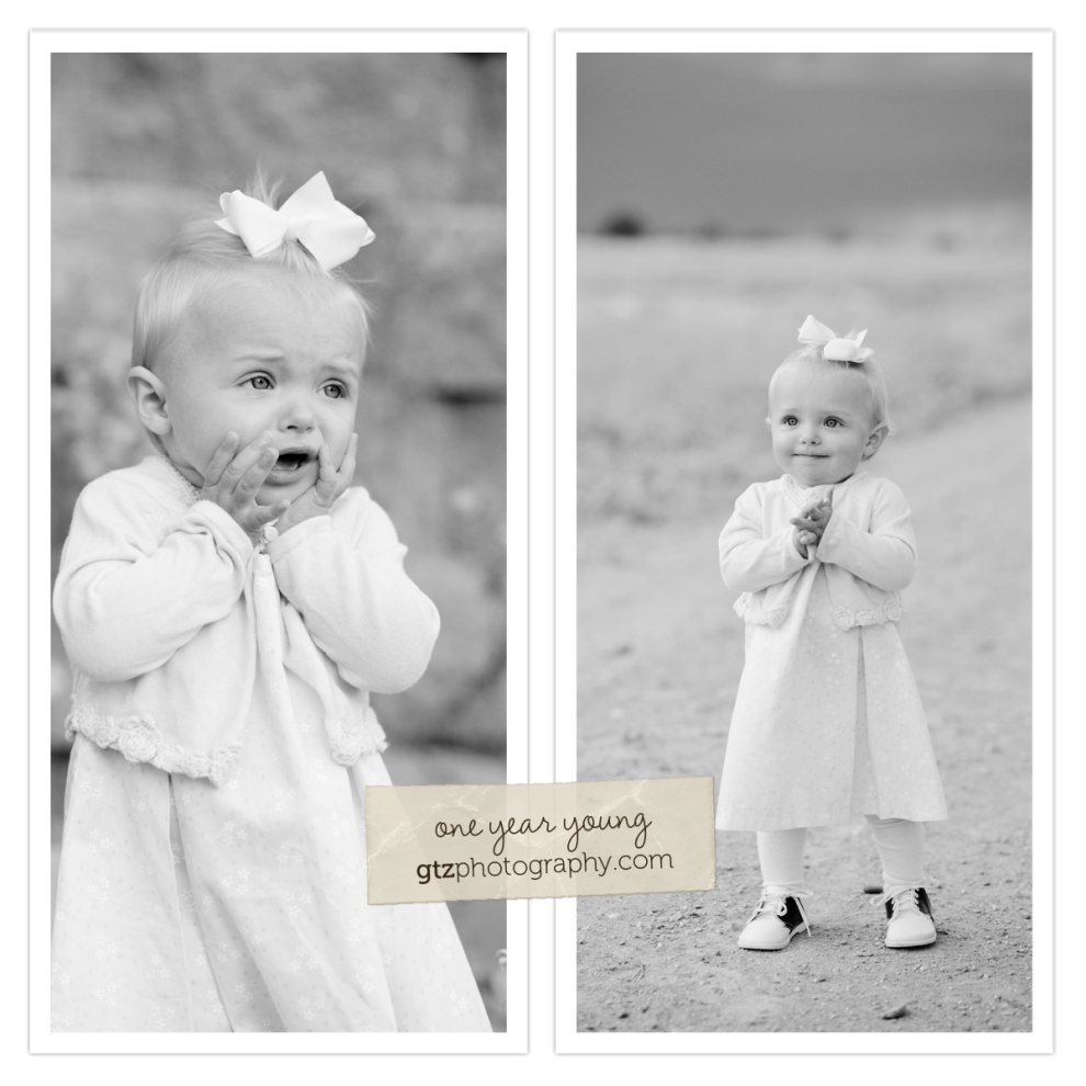 black and white diptych of one year old girl