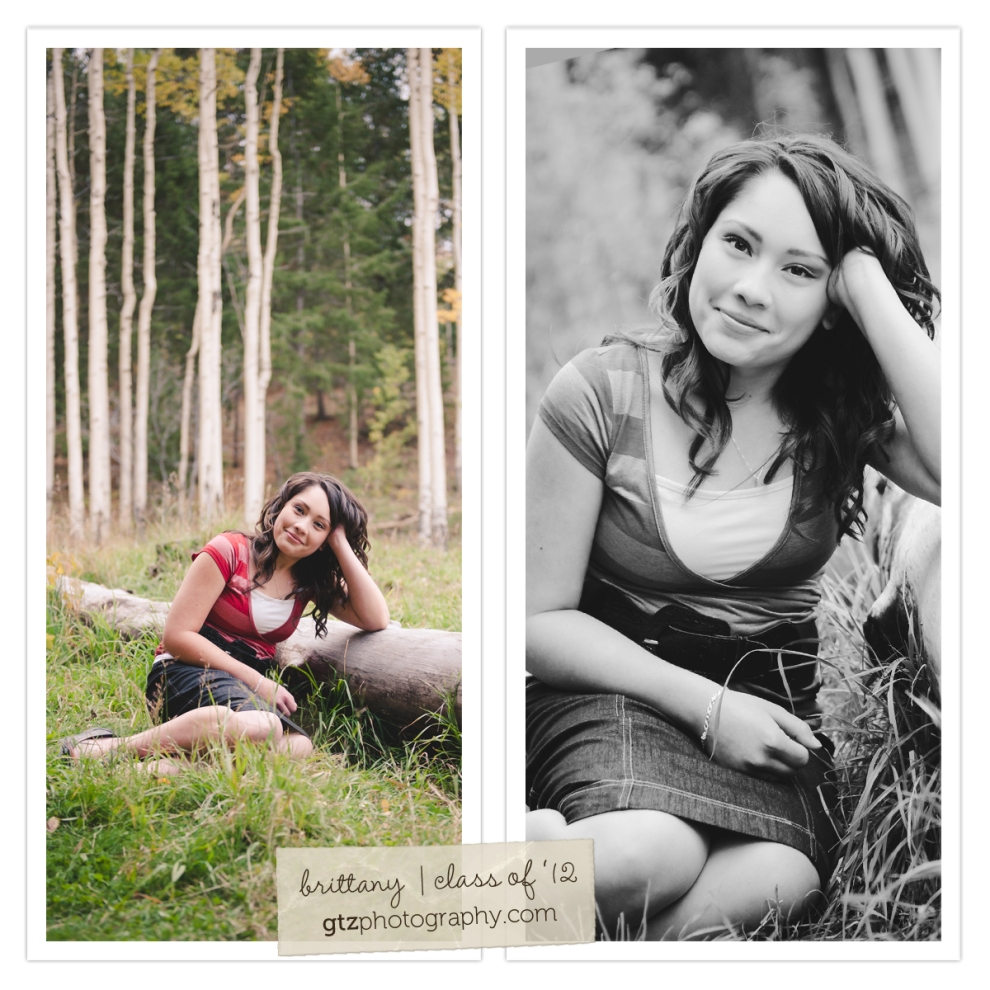 high school senior girl portraits leaning on log aspens in background fall hyde park santa fe nm