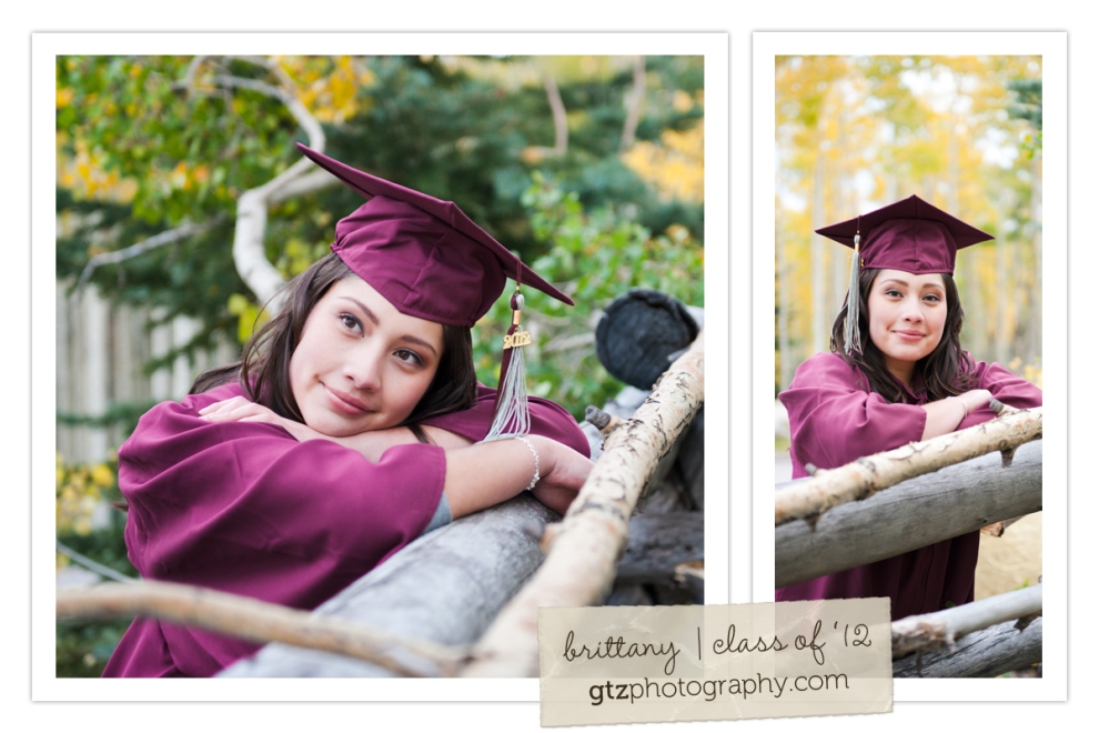 high school girl senior portraits cap and gown hyde park santa fe nm leaning on fence