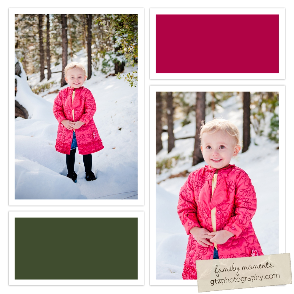 composite of one year old girl in pink coat, standing in the snow