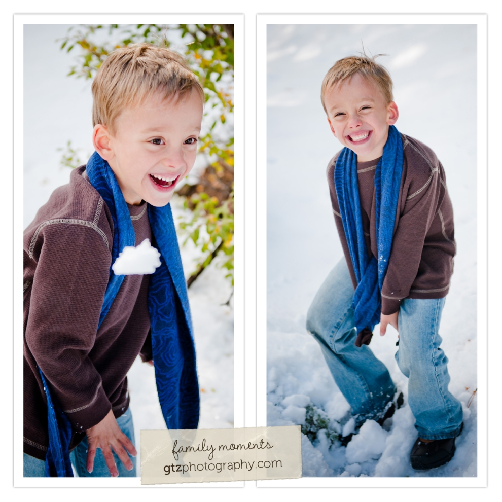 Composite of six year old boy throwing snowballs, laughing in snow