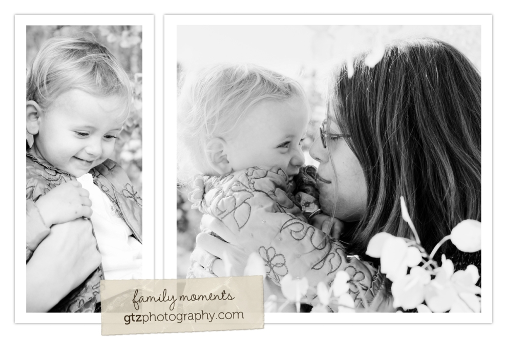 black and white composite of mom with one year old baby girl