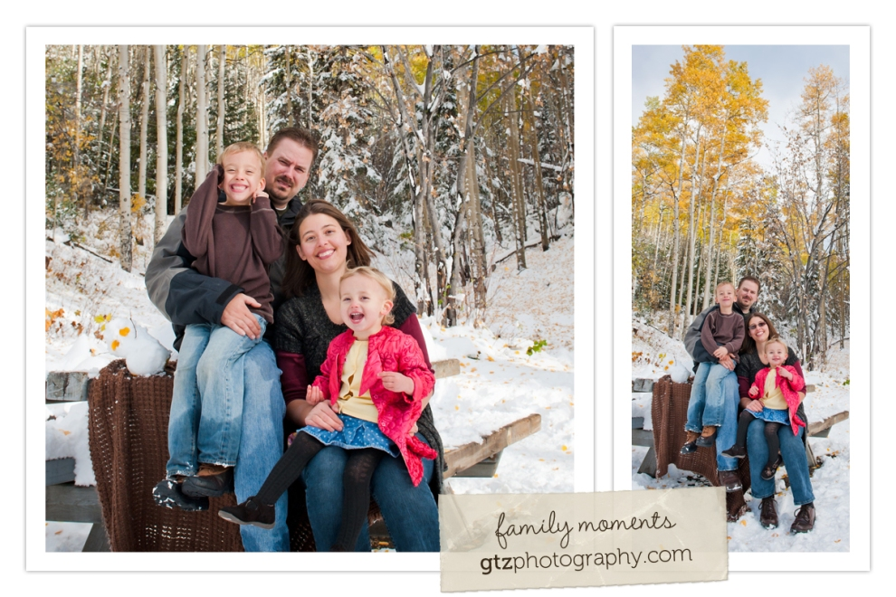 family portraits with fall aspen colors in the background, in the snow, Hyde Park, Santa Fe, NM