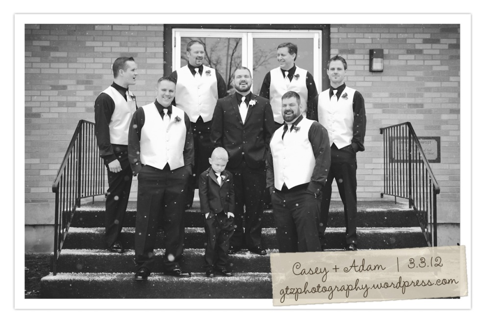 wedding party guys laughing
