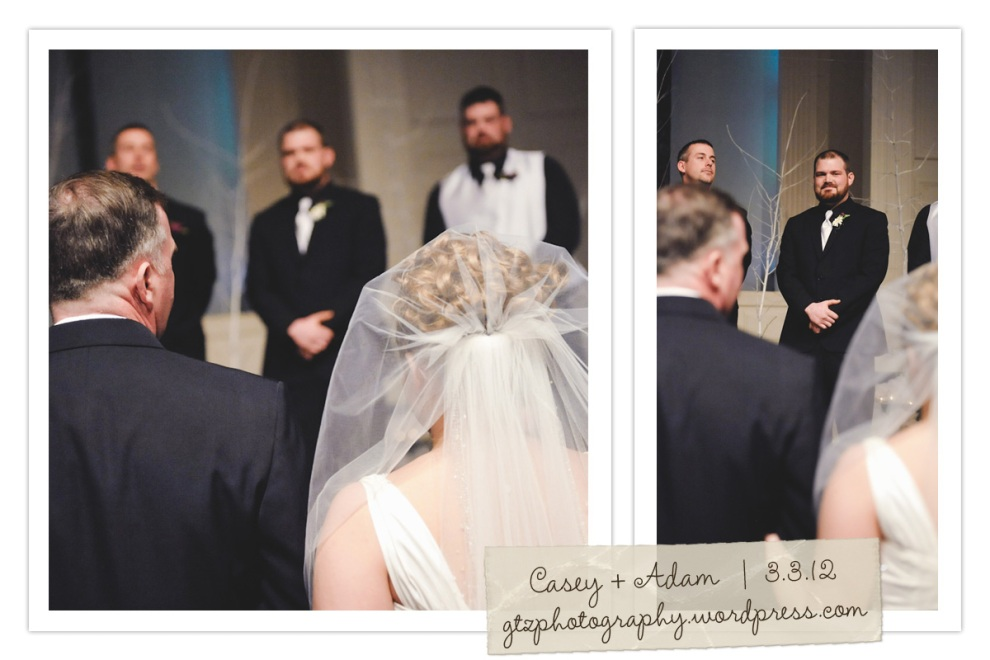 groom sees bride at altar