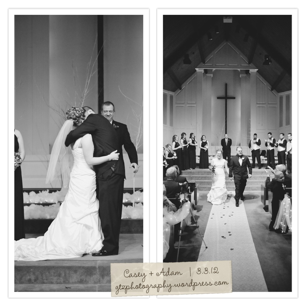 bride and groom kiss and recessional