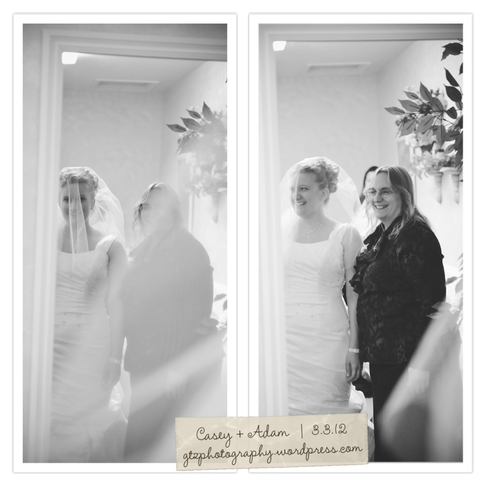 bride and mother in mirror