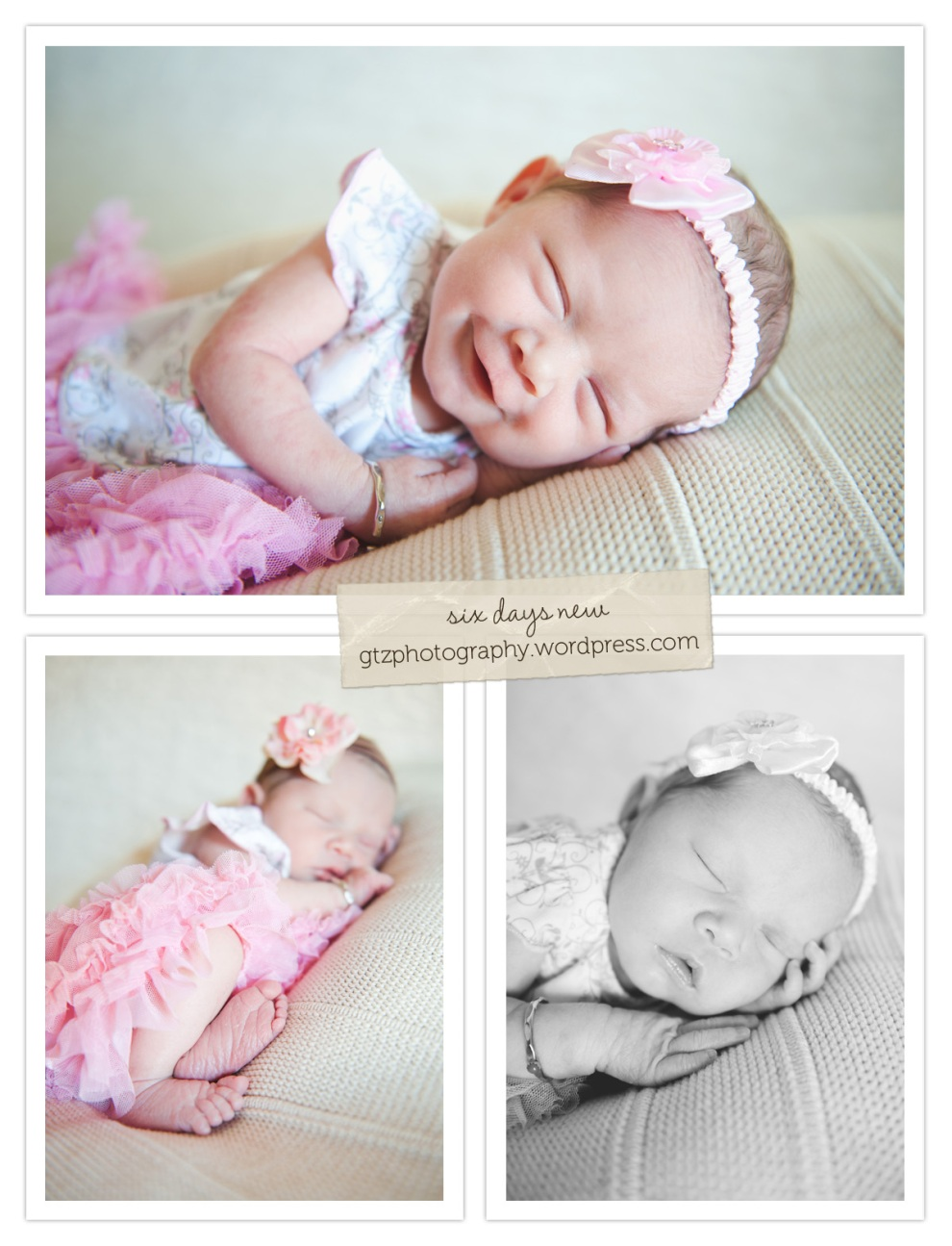 six day old newborn baby girl in pink, sleeping